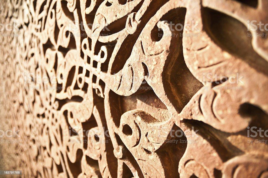 Qutub Minar Engraved Arabesque royalty-free stock photo