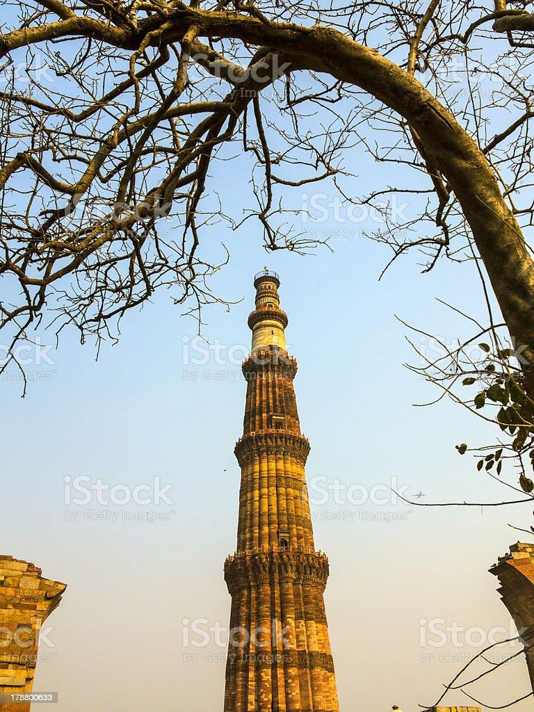Qutub Minar Tower tallest brick minaret royalty-free stock photo