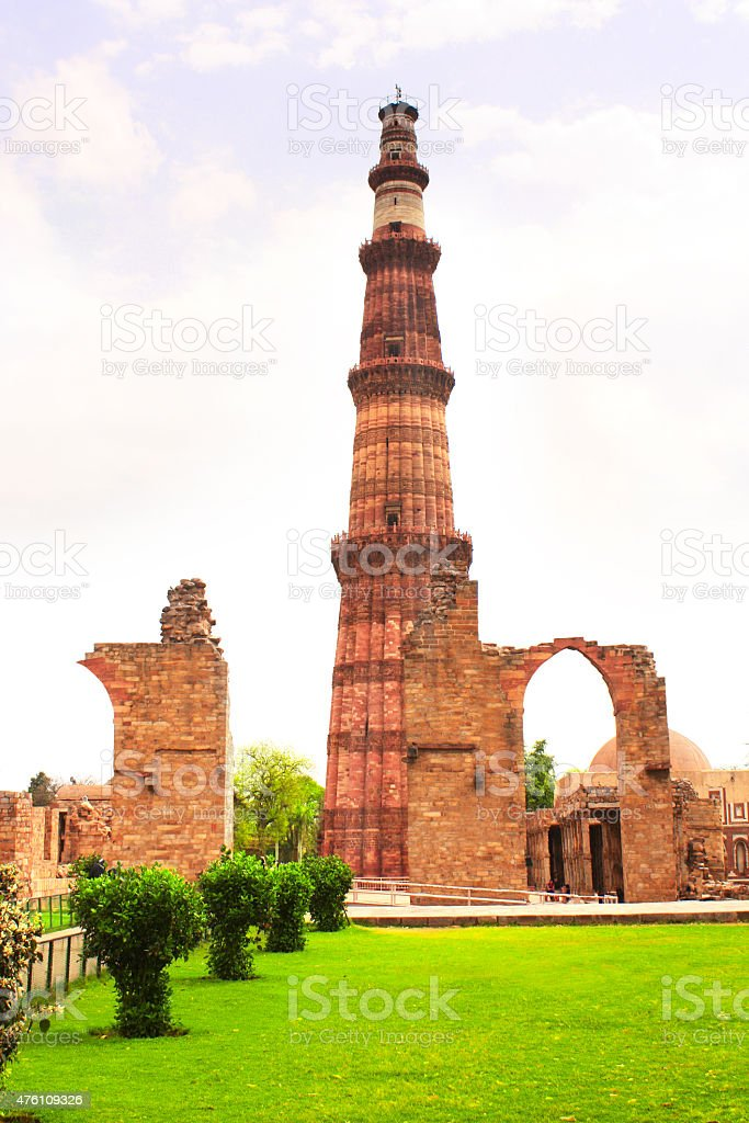 Qutub-Minar Tower, Delhi, India stock photo