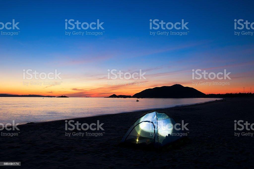 Quy Nhon beach at sunrise, Vietnam stock photo