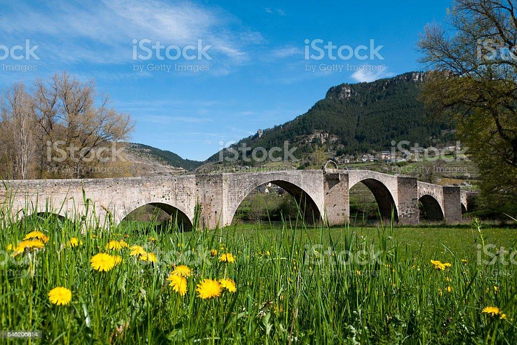 Quézac bridge stock photo
