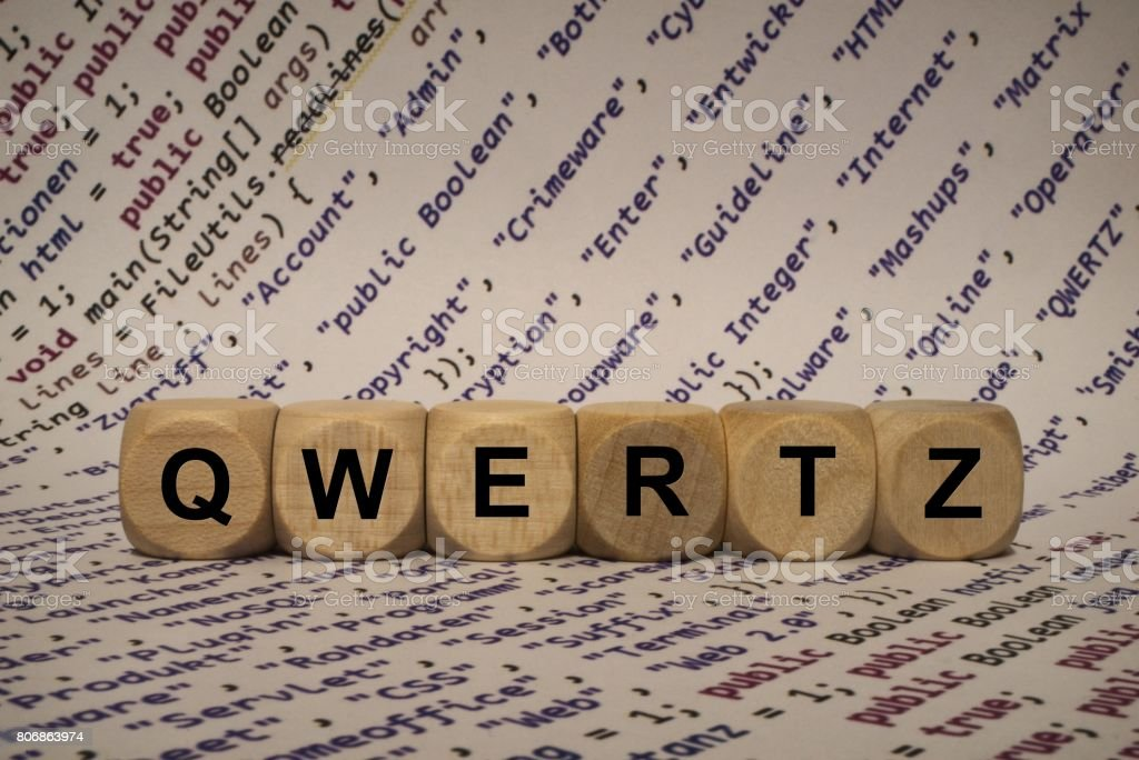 qwertz - cube with letters and words from the computer, software, internet categories, wooden cubes stock photo