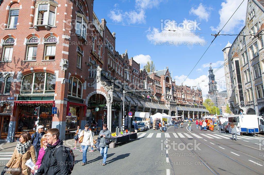 Raadhuisstraat street with Westerkerk on the background in Amsterdam. stock photo