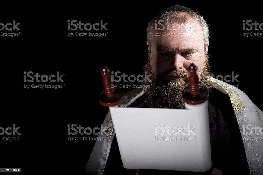 Rabbi Reading Torah Scroll Horizontal stock photo