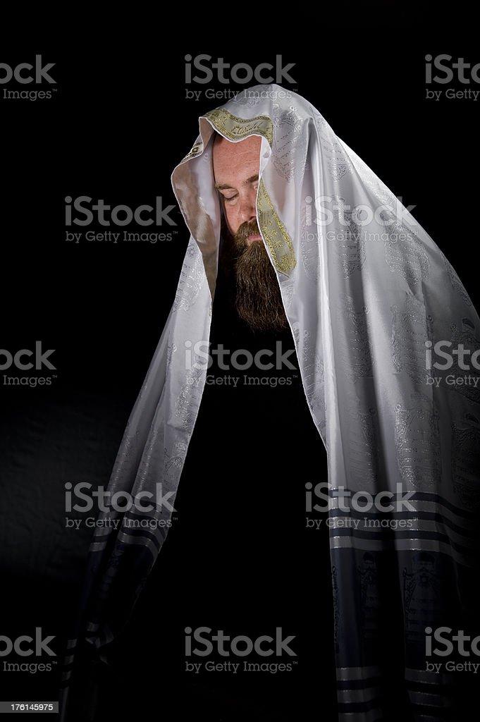 Rabbi Wearing Tallit stock photo