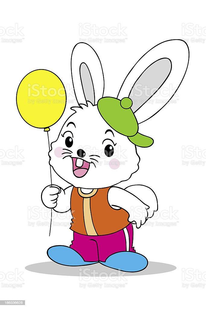 Rabbit and balloons royalty-free stock photo