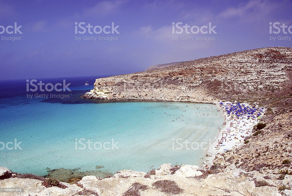rabbit beach Lampedusa stock photo
