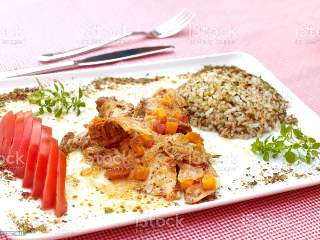Rabbit stew with rice stock photo