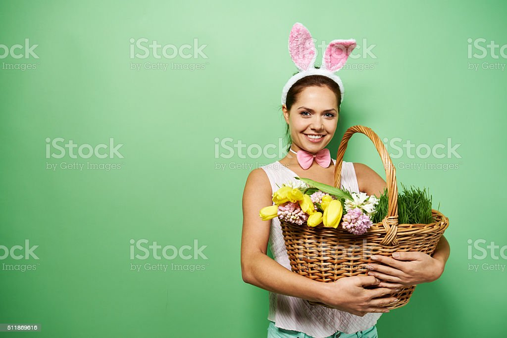 Rabbit with flowers stock photo