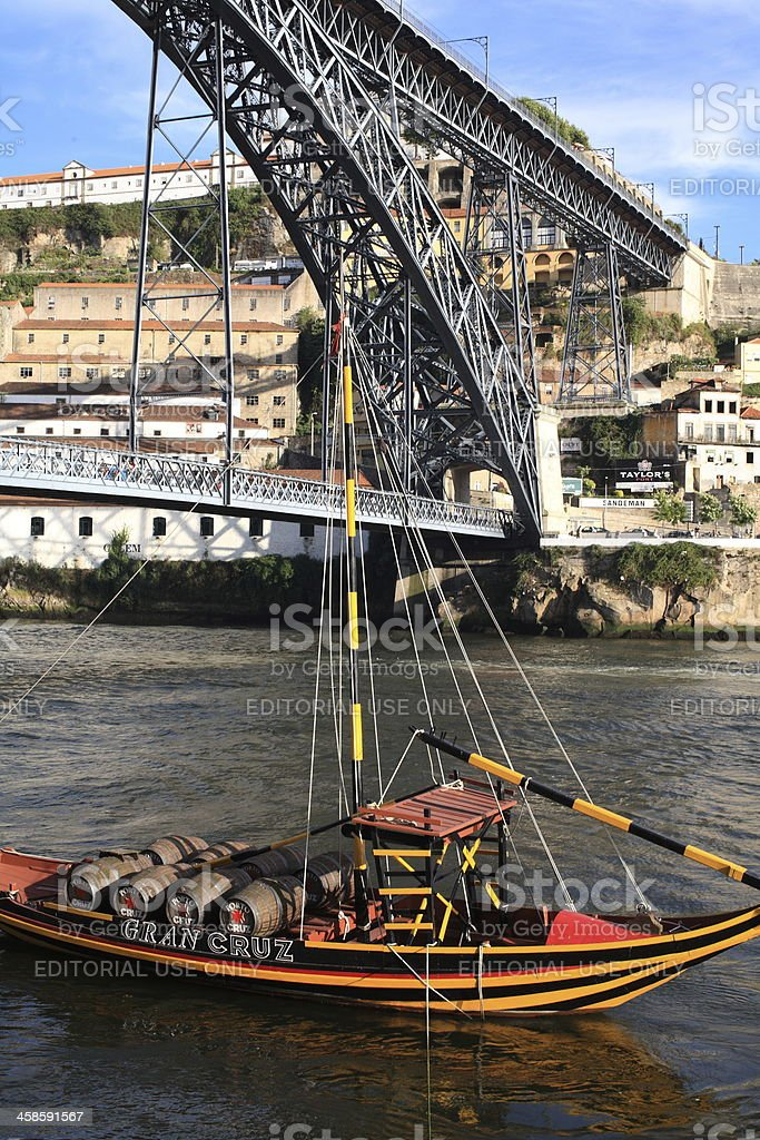 Rabelo Boat and Bridge D. Luis, Vila nova de Gaia stock photo