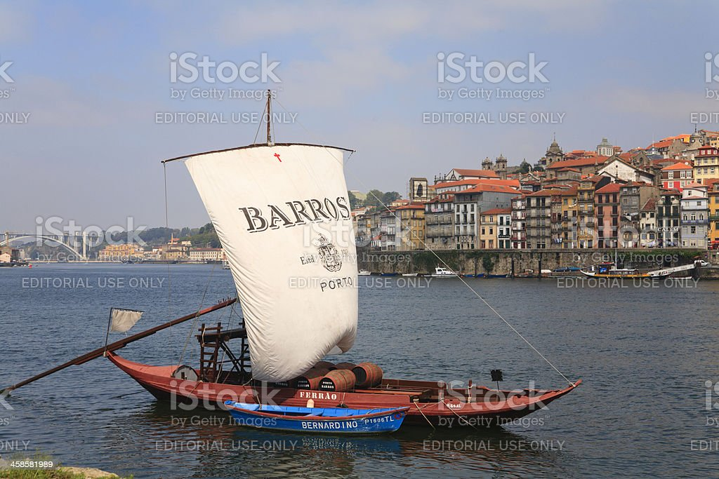 Rabelo Boat in Douro River stock photo