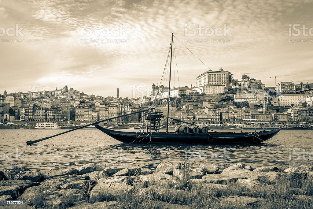 Rabelo boat in Porto, Portugal. stock photo