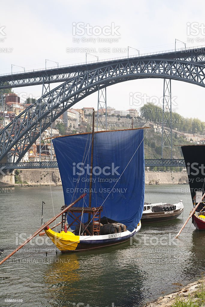 Rabelo Boat with blue sail, Portugal (Oporto - Portugal) stock photo