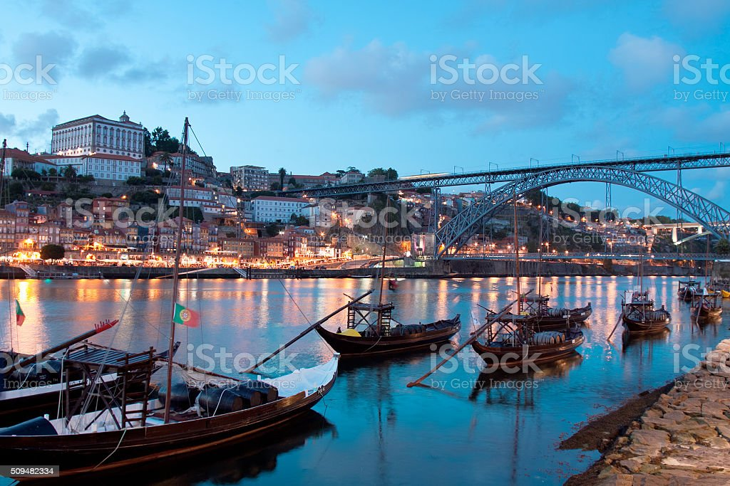 Rabelo boats in Porto, Portugal stock photo