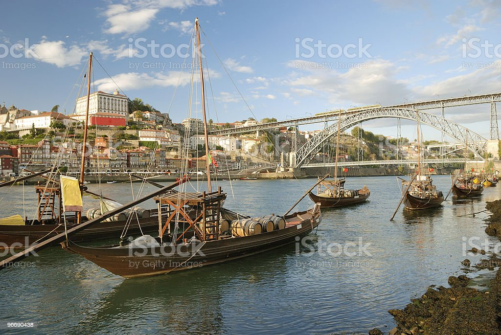 rabelo boats near Bridge (Porto) stock photo