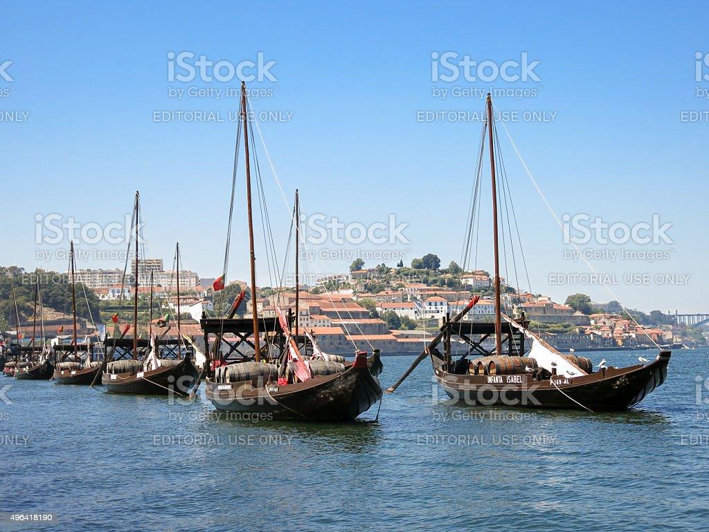 Rabelo boats on Douro River, Porto stock photo