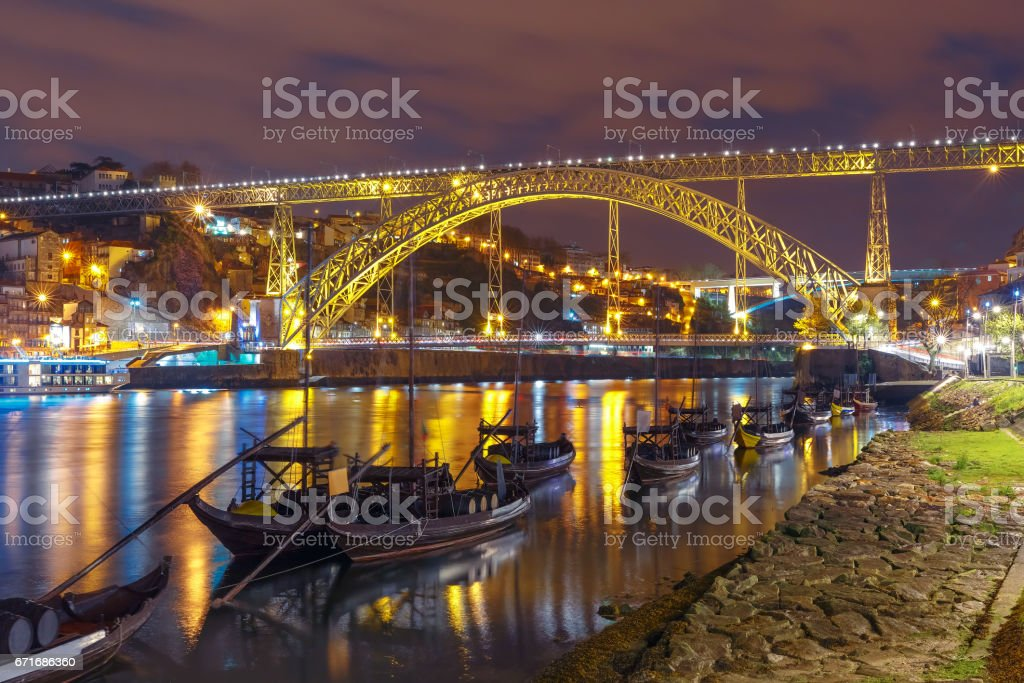 Rabelo boats on the Douro river, Porto, Portugal stock photo