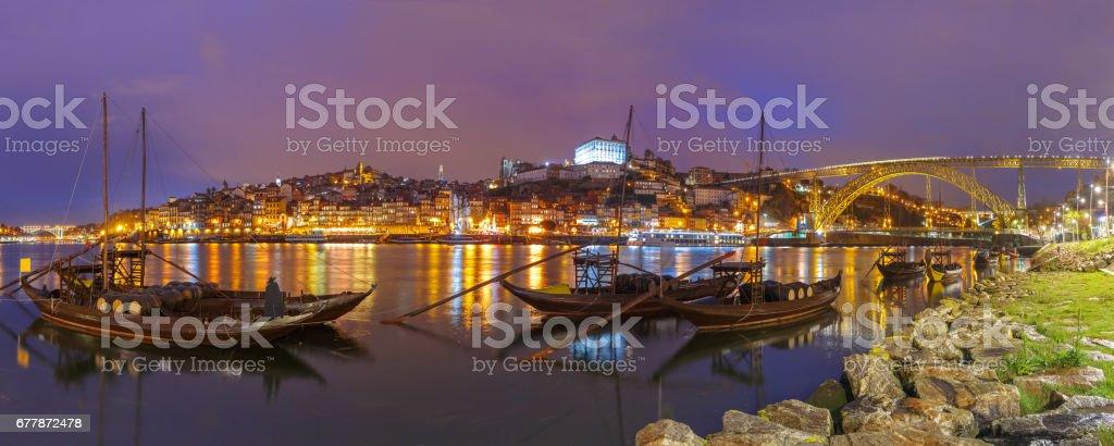 Rabelo boats on the Douro river, Porto, Portugal stock photo