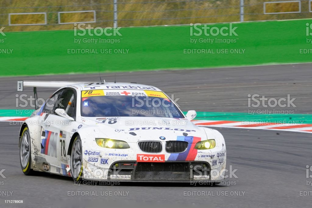 BMW M3 GT2 race car at the race track stock photo