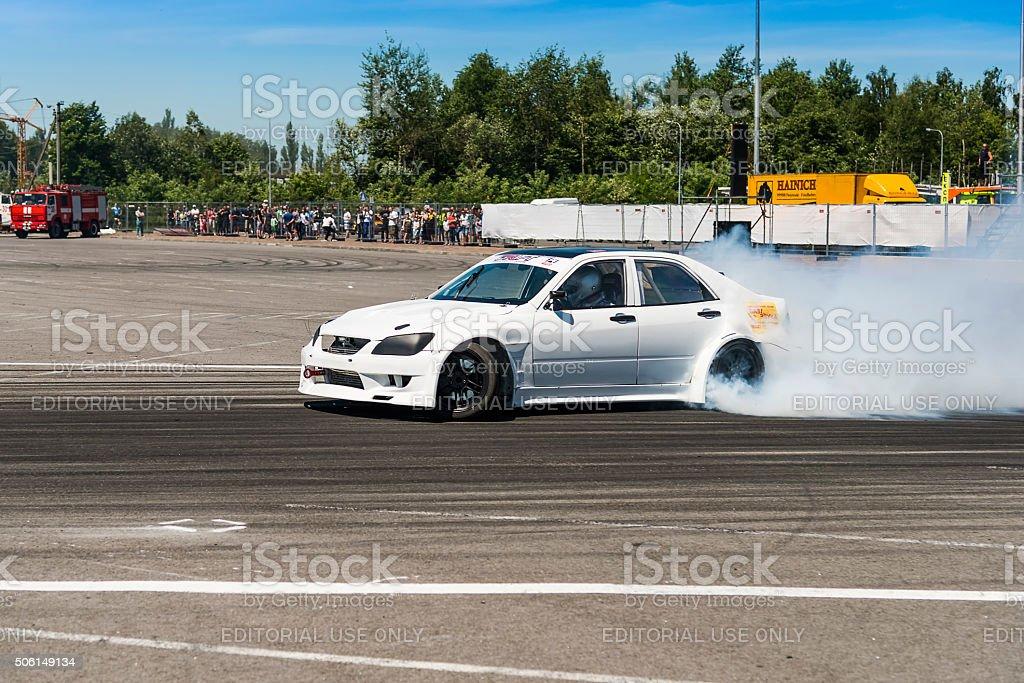 Race car brand Nissan overcome the track stock photo