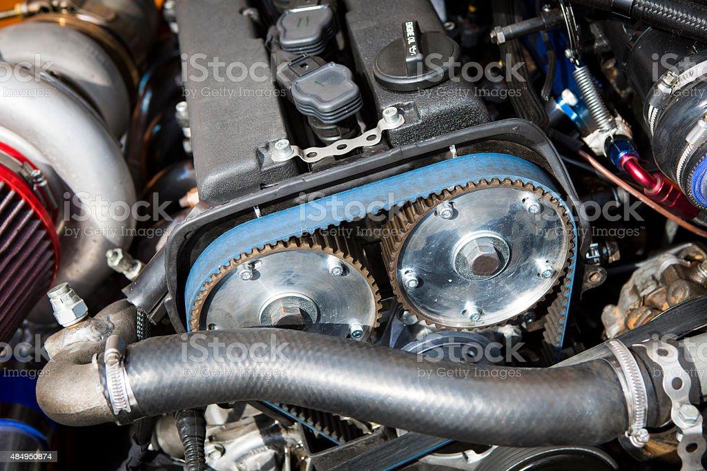 race car engine stock photo