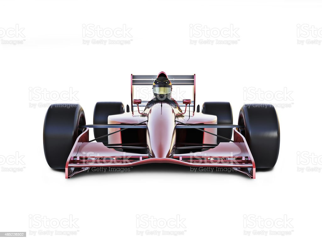 Race car front view on a white isolated background. stock photo