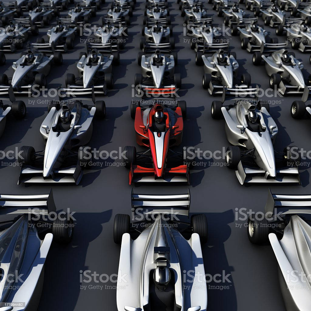 3D F1 race Car group royalty-free stock photo
