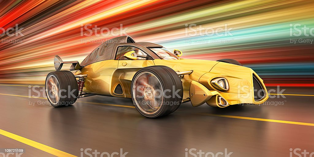 race car in the city vector art illustration