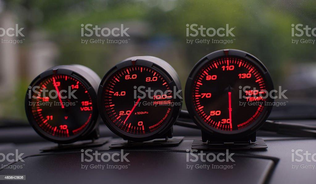 Race Car Meter gauges stock photo