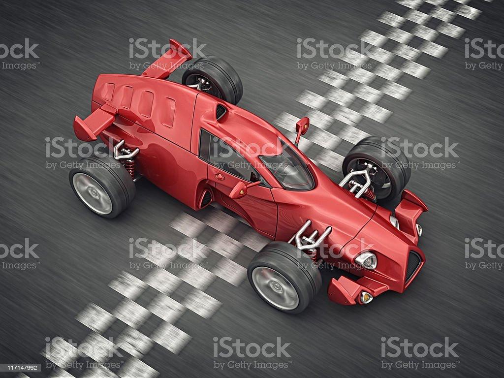 race car on finish line royalty-free stock photo