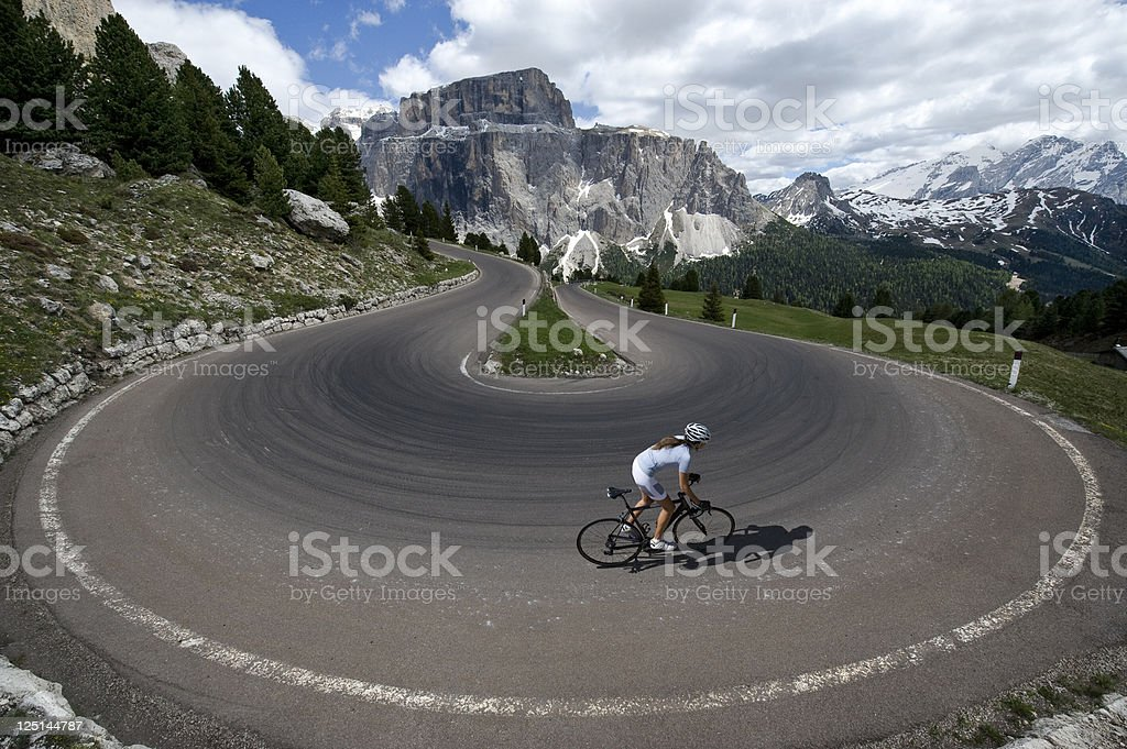 Race cycling in the Dolomites stock photo