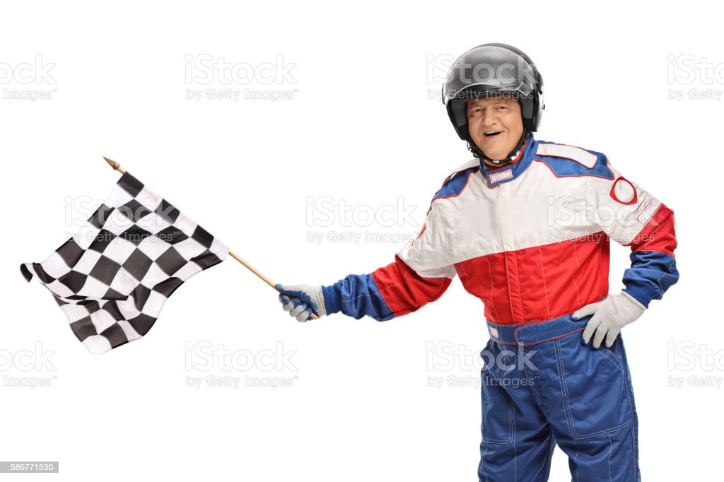 Race driver waving a checkered flag stock photo