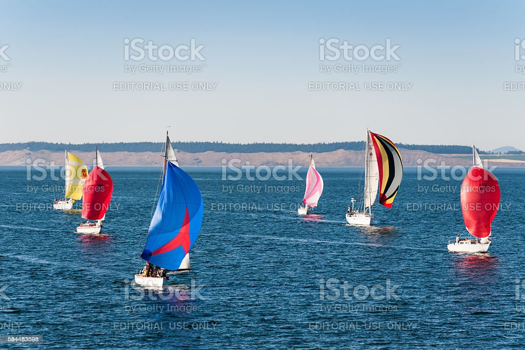 race of sailboats at Port Townsend stock photo