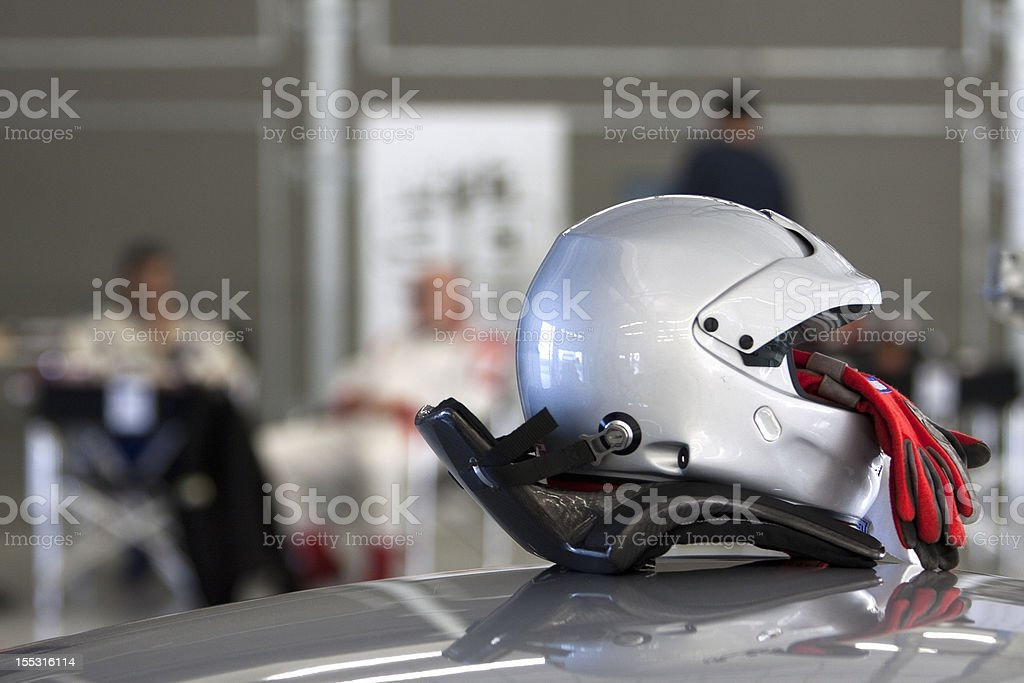 Race preparation - Helmet and Gloves stock photo