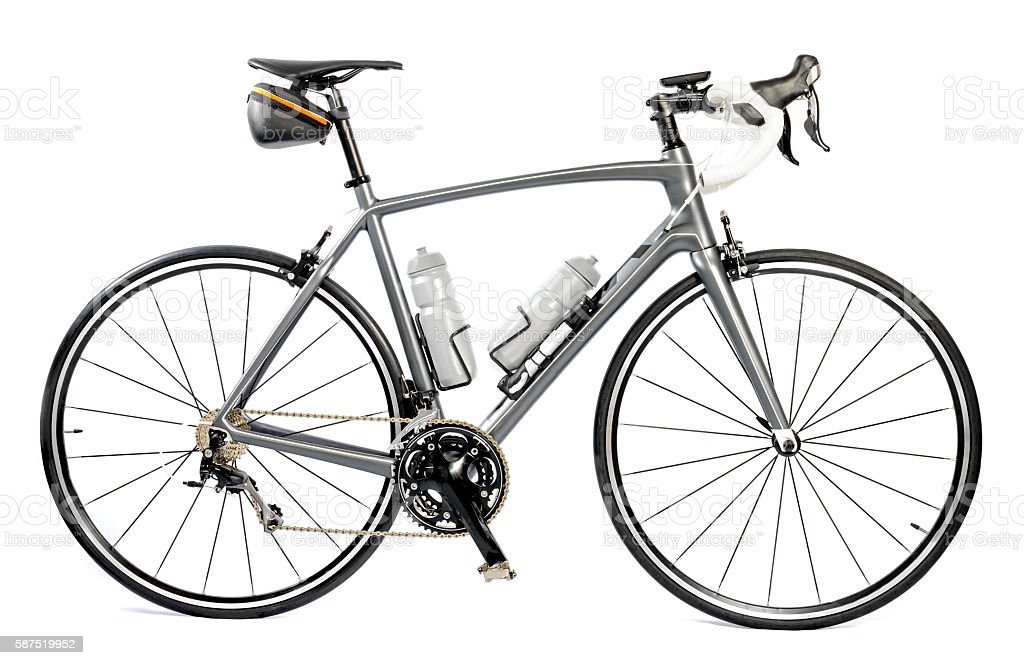 Race road bike isolated on white background stock photo