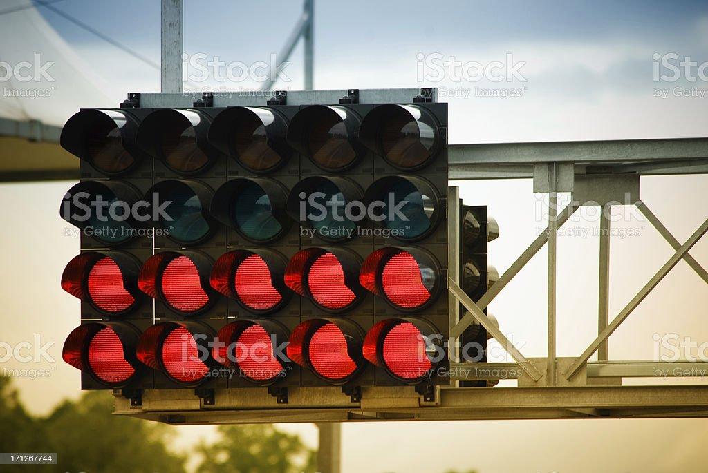 Race starting lights stock photo