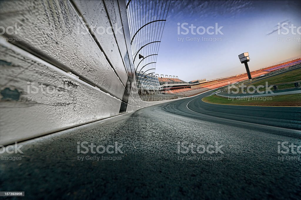 Race track at dawn stock photo