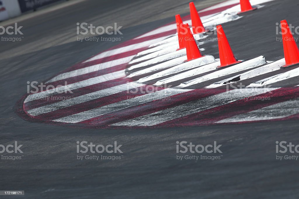 Race track corner with cones royalty-free stock photo