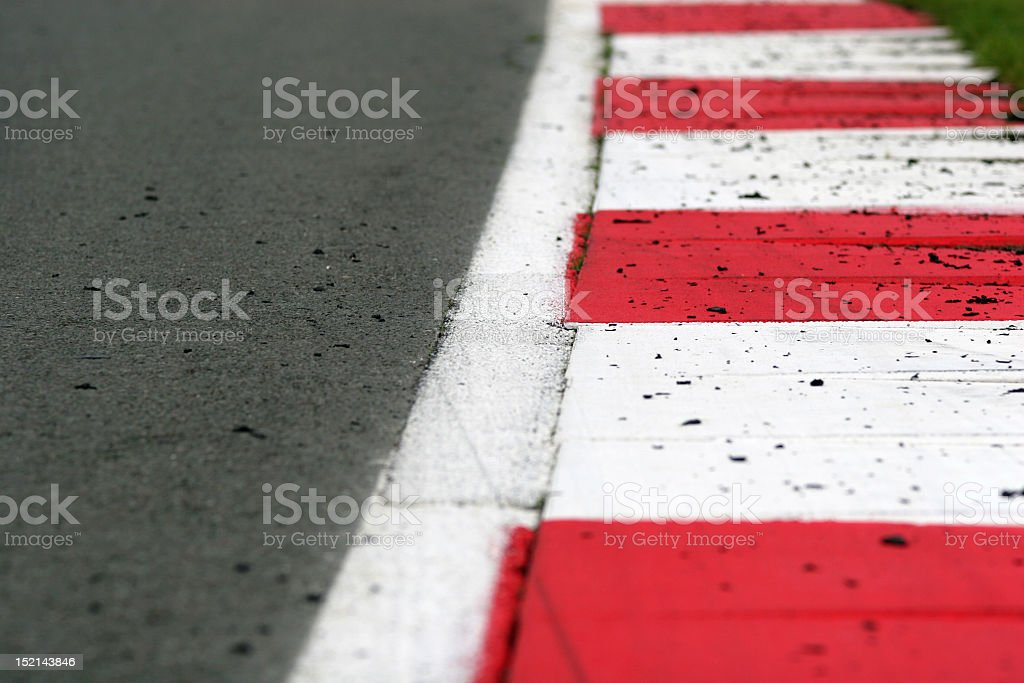 Race Track Kerb with Rubber Debris royalty-free stock photo