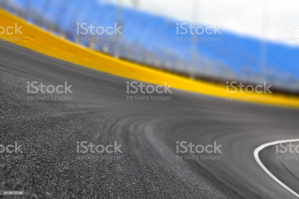 Race track turn on a motor speedway stock photo