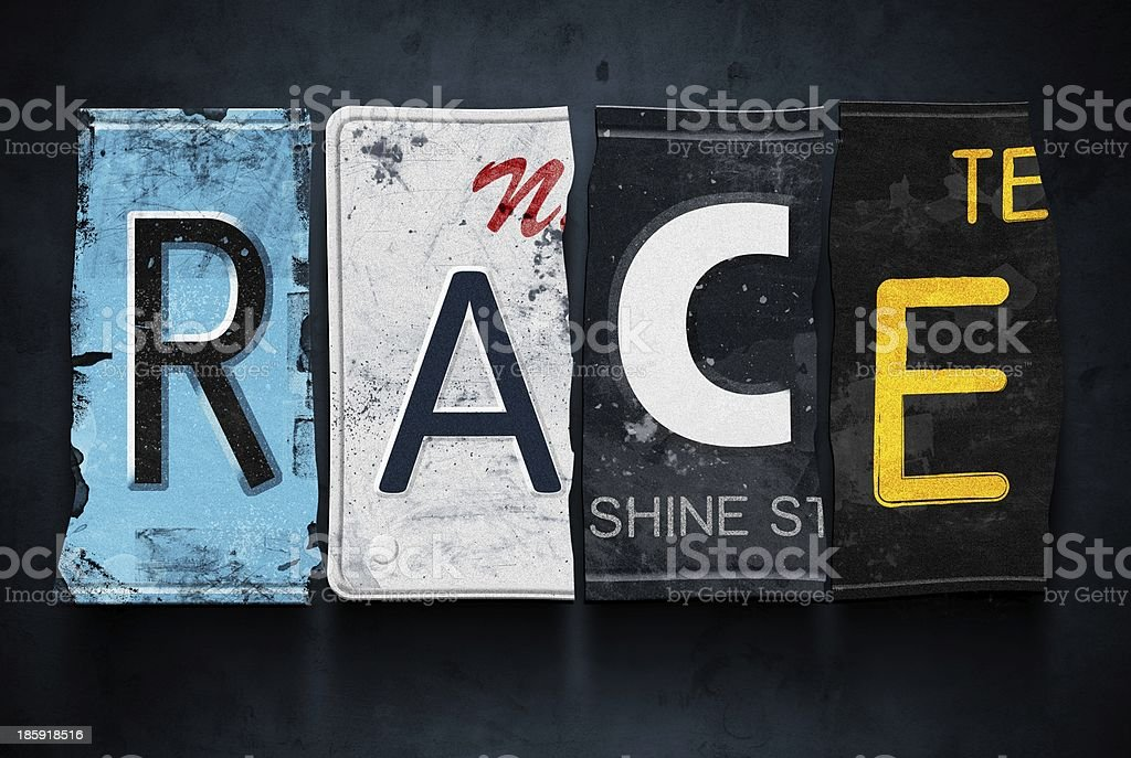 Race word on vintage car license plates, concept sign royalty-free stock photo