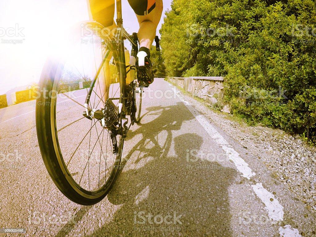 Racebike from Below - Gopro shot stock photo