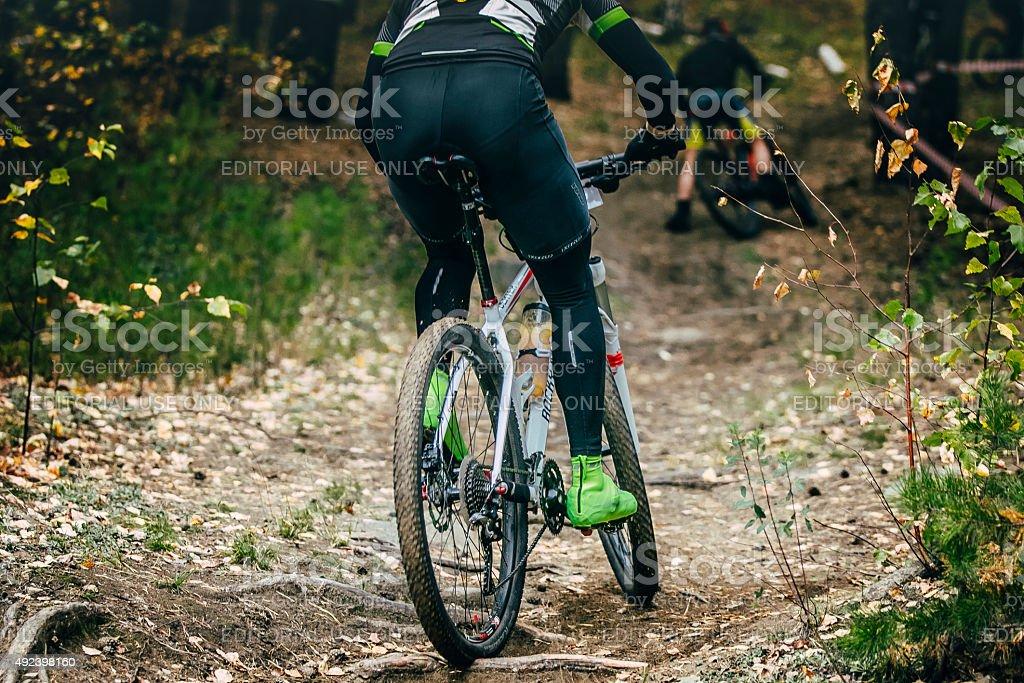 레이서 cyclist 오르막 타기 원활해짐 나무의 뿌리에서 royalty-free 스톡 사진