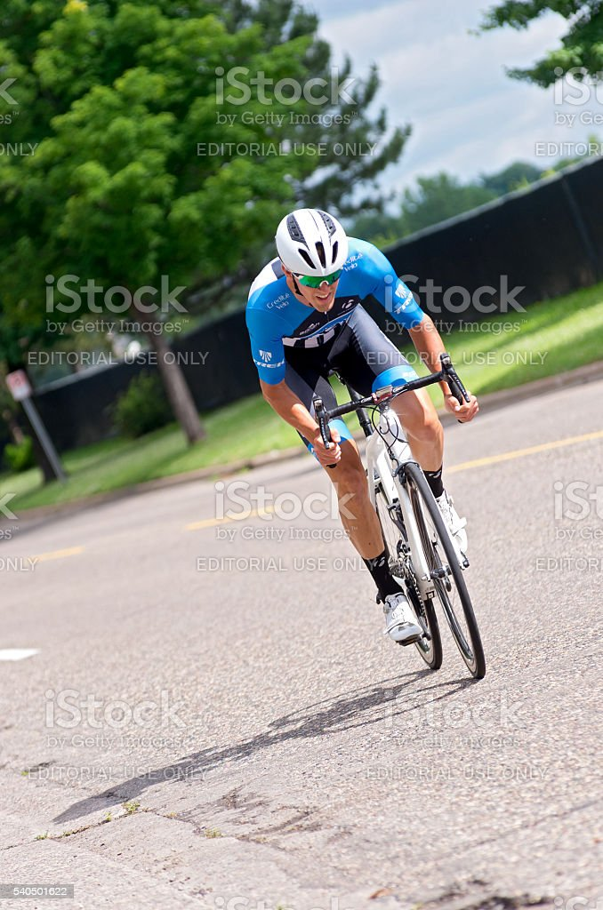 Racer on Course in St Paul stock photo