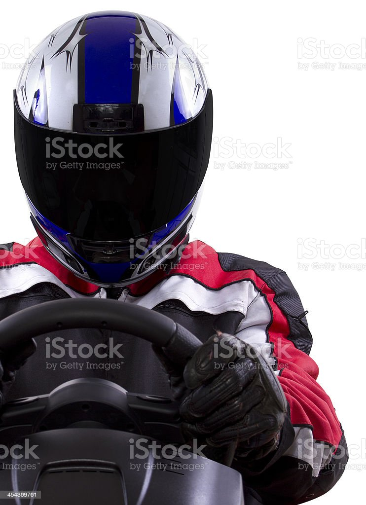 Racer Wearing a Helmet and Red Protective Gear stock photo