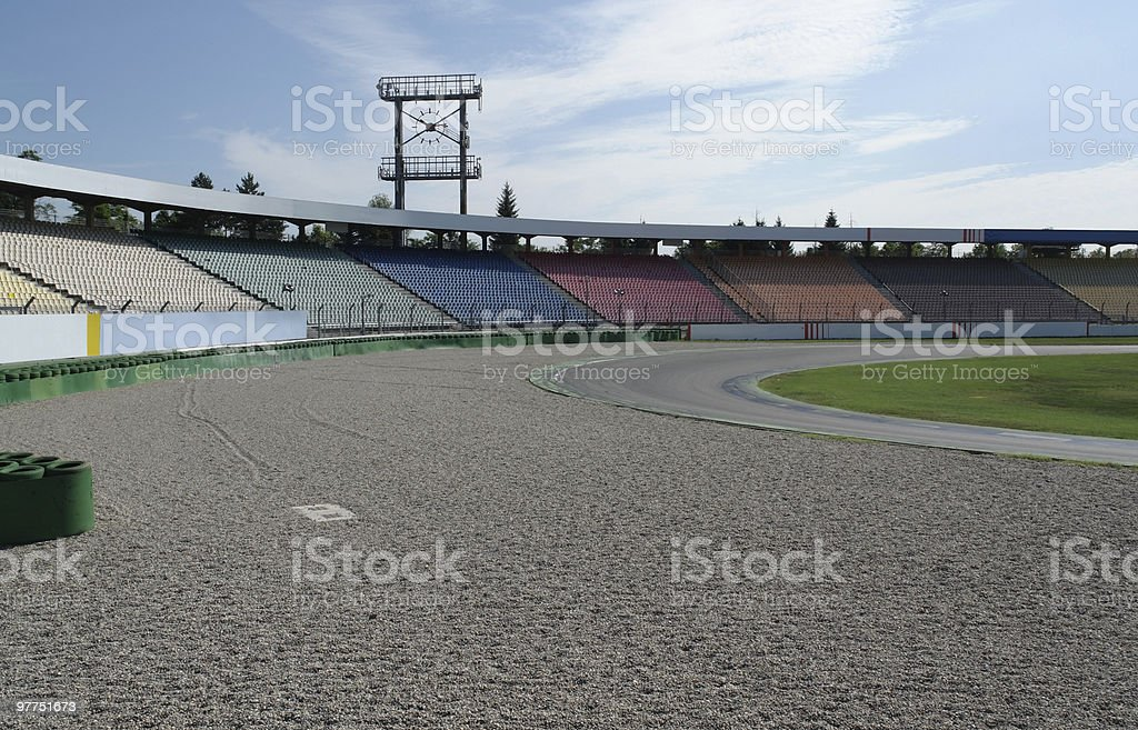 racetrack curve and run-off area stock photo