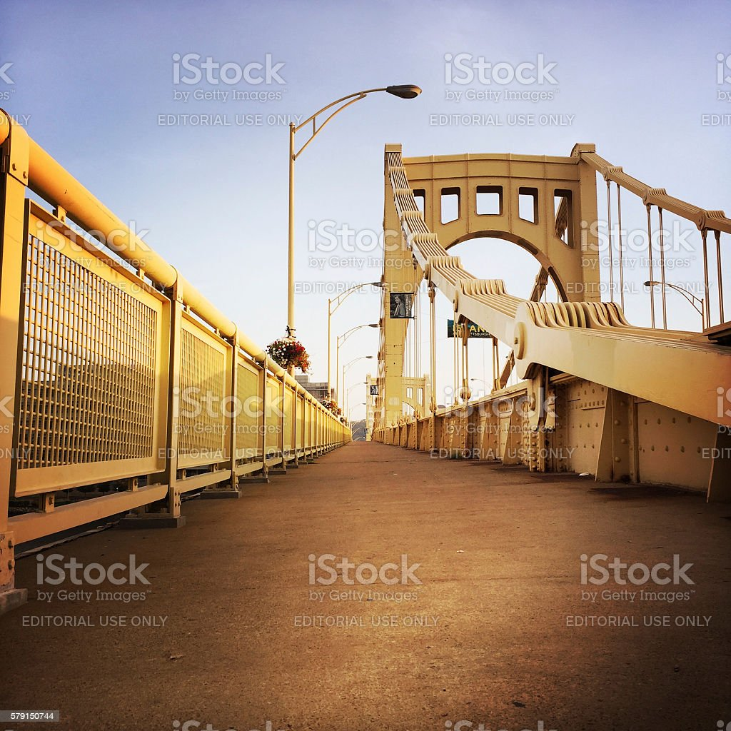 Rachel Carson Bridge In Downtown Pittsburgh Crosses Allegheny River stock photo