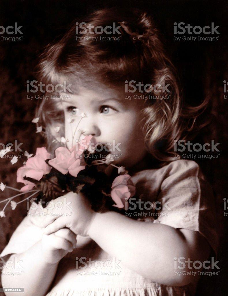 Rachel with flowers stock photo