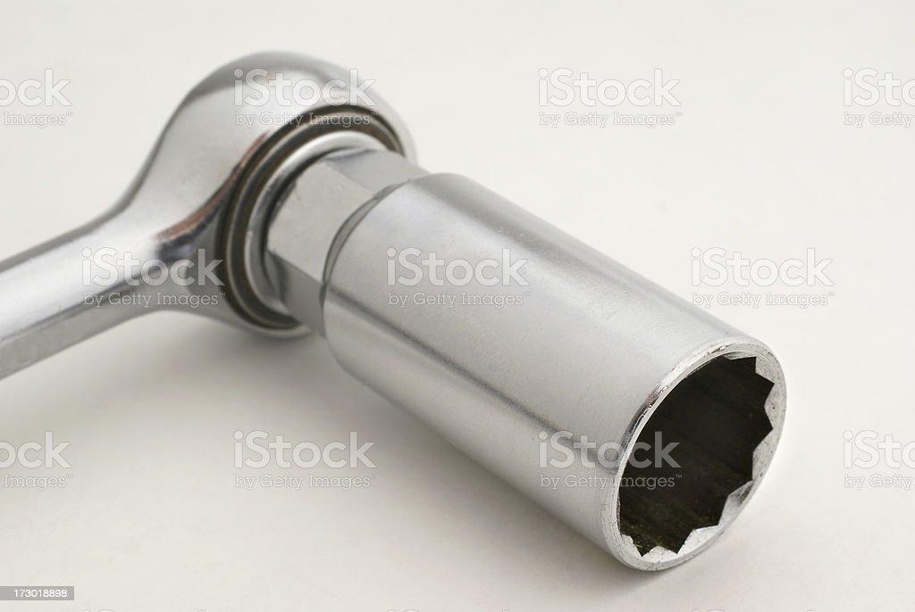 rachet wrench with deep socket stock photo