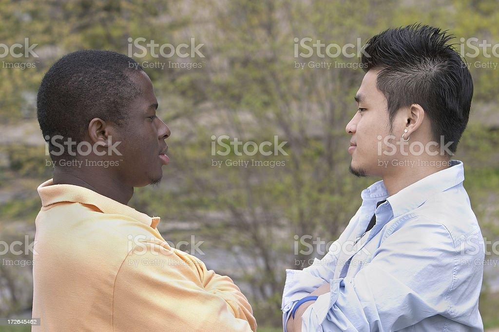 Racial conflict stock photo